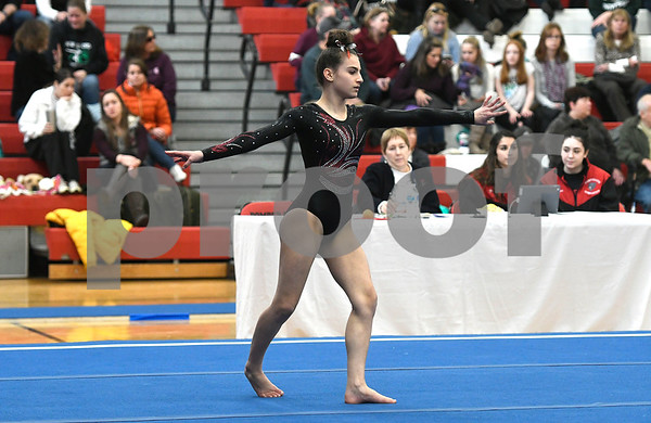 1/6/2018 Mike Orazzi | Staff Pomperaug Girls Gymnastics' Alaina Karp during the floor exercise at the Pomperaug Open held at Pomperaug High School Saturday.