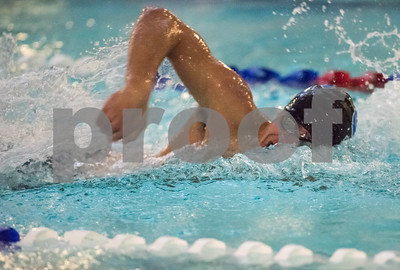 01/19/18  Wesley Bunnell | Staff  Plainville swimming was defeated by Southington 97-80  on Friday evening at Plainville High School. Southington's Quint Kimmel during the 100 free.