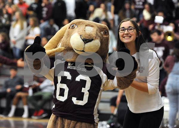 1/19/2018 Mike Orazzi | Staff The Bristol Central High School Rams mascot during Friday night's boys basketball game.