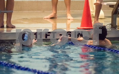 01/19/18  Wesley Bunnell | Staff  Plainville swimming was defeated by Southington 97-80  on Friday evening at Plainville High School. Plainville's Joe Michaliz and Southington's Quint Kimmel after the 100 free.