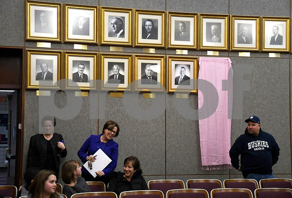 1/9/2018 Mike Orazzi   Staff Bristol Mayor Ellen Zoppo-Sassu before the unveiling of her official portrait Tuesday night at city hall.