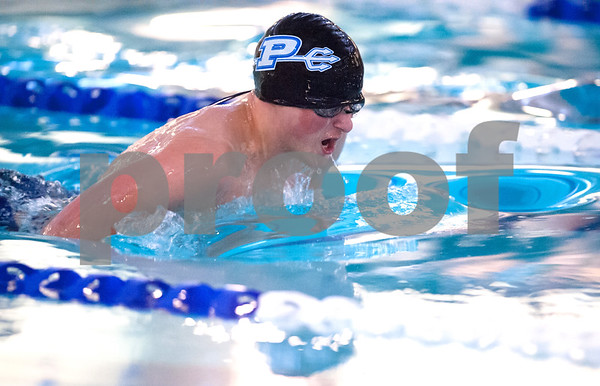 01/09/18 Wesley Bunnell   Staff Plainville boys swimming defeated East Catholic 89-86 on Tuesday evening at Plainville High School. Graham Eyres in the 100 breast stroke.