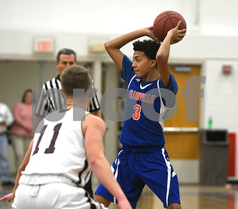 1/9/2018 Mike Orazzi | Staff Plainville's Pierre Ramirez (3) at BC Tuesday night.