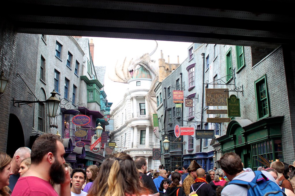 Crowded Diagon Alley at Universal Orlando Resort