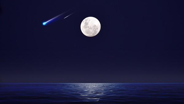 Blue Comet,  Shooting Star,  Full Moon & Foggy Sea.