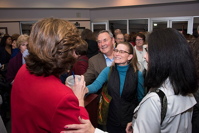 Senator Marcus was greeted after the ceremony with good wishes from supporters. (Bill Giduz photo)