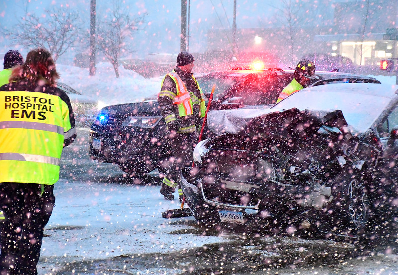1/30/2019 Mike Orazzi   Staff The scene of a two car crash at the intersection of PIne and Middle Streets in Bristol Wednesday evening. Both vehicles, a Jeep and a Subaru, were towed from the scene and no patients were transported.