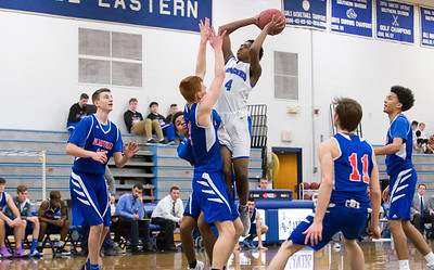 01/07/19  Wesley Bunnell | Staff  Bristol Eastern boys basketball in a home game vs Plainvillle on Monday night. \be4 with a jumper.