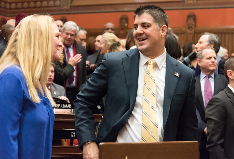 01/15/19  Wesley Bunnell | Staff  Rep. Gary Turco of Newington stands on the house floor after Gov. Lamont's State of the State speech on Jan 9th.