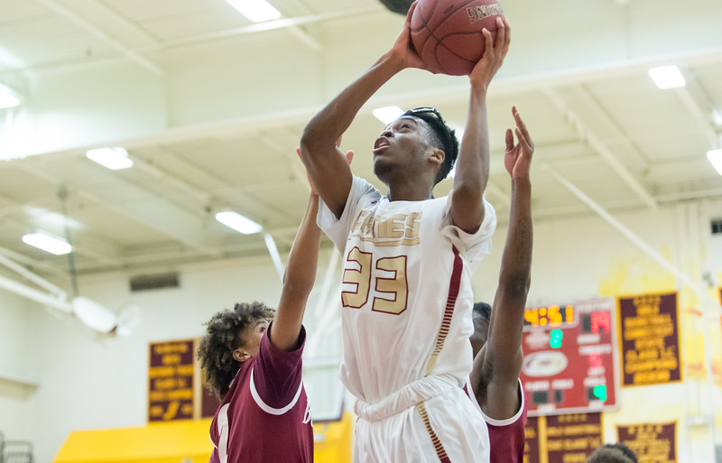 01/28/19  Wesley Bunnell   Staff  New Britain basketball defeated Bulkeley at home on Monday night. Shamah Charles (33).