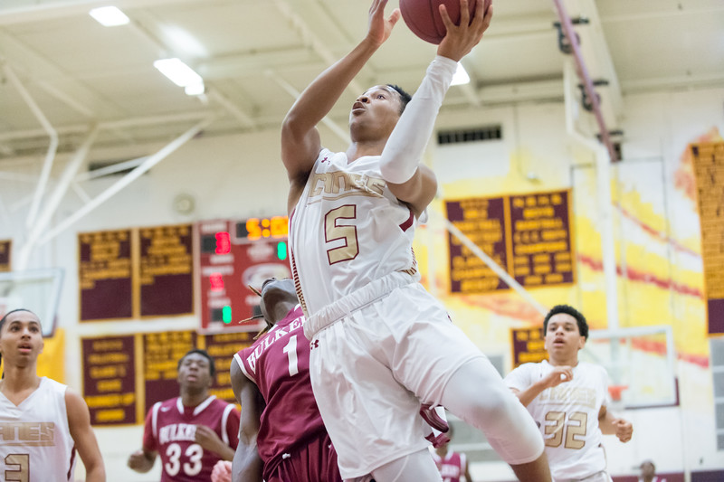 01/28/19  Wesley Bunnell | Staff  New Britain basketball defeated Bulkeley at home on Monday night. Tahmeen Dupree (5).