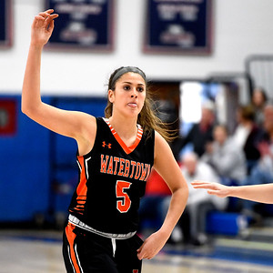 1/11/2019 Mike Orazzi | Staff Watertown's Jordyn Forte (5) Friday night at St. Paul in Bristol