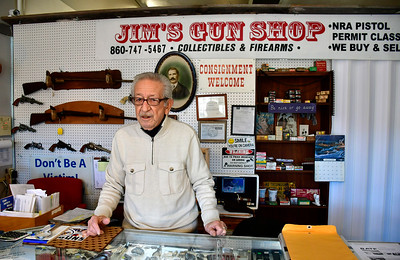 1/11/2019 Mike Orazzi | Staff Jim Zoppi of Jim's Collectibles & Firearms in Plainville supports Federal Democratic legislation for  federal background checks on all firearm transactions.