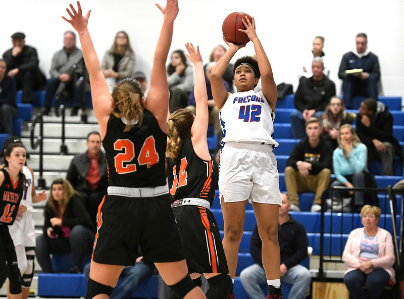 1/11/2019 Mike Orazzi | Staff St. Paul's Jade Udoh (42) Friday night in Bristol