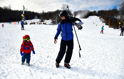 1/12/2019 Mike Orazzi | Staff Lauren Duchene and her daughter Nora while at Mount Southington Ski Area on Mt Vernon Road in Plantsville Saturday.