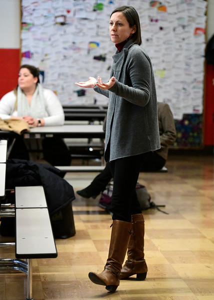 1/16/2019 Mike Orazzi | Staff No Bully's Jennifer Brevoort while speaking to Northeast Middle School staff members while as part of  ESPN's Shred Hate program in Bristol Wednesday at the Northeast Middle School.