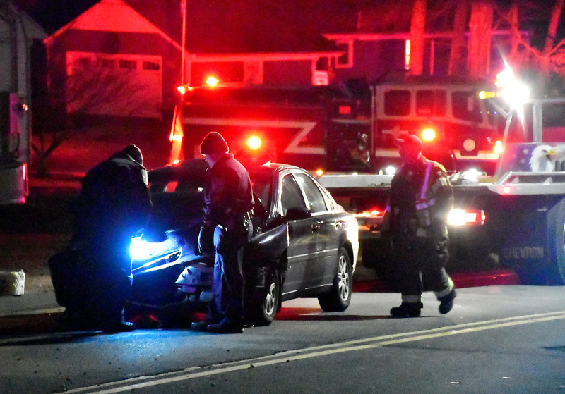 1/16/2019 Mike Orazzi | Staff The scene of a three-car crash on Mix Street near the intersection with Jerome Avenue. No injuries were reported and the road was closed about an hour.