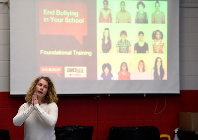 1/16/2019 Mike Orazzi | Staff ESPN's Jen Paulett during Shred Hate, an ESPN program launched in January 2017 to eradicate bullying in schools and encouraging kids to choose kindness in Bristol Wednesday at the Northeast Middle School.