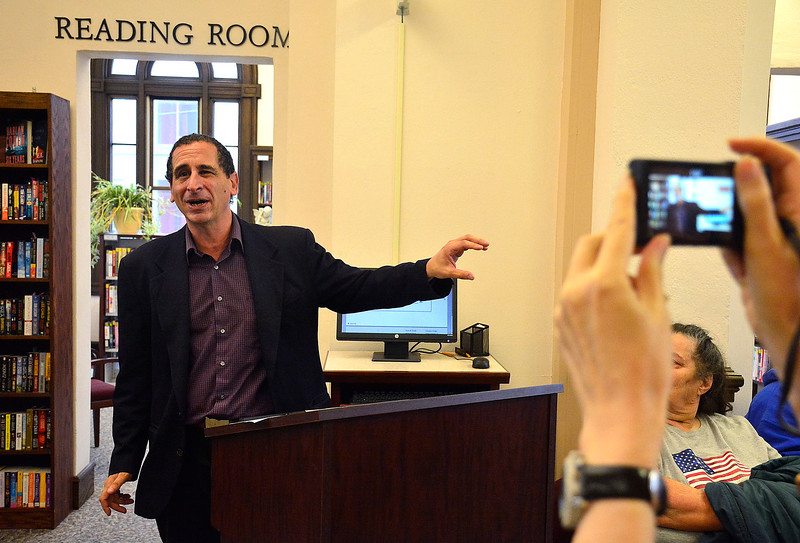 10/11/2014 Mike Orazzi   Staff The Simpsons producer Mike Reiss during a visit to the Bristol Public Library on Saturday. Reiss had a section of the library dedicated to him during a short ceremony.