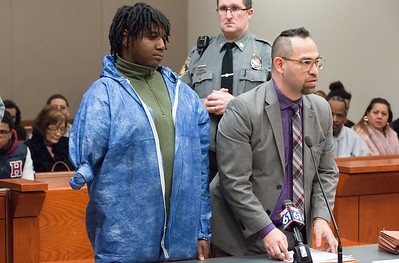 01/17/19  Wesley Bunnell | Staff  Justin Hapgood was arraigned in New Britain Superior Court on Thursday afternoon in the shooting death of Erik Rivera who was shot on North Street Tuesday night. Hapgood is shown with Public Defender Chester Fernandez.