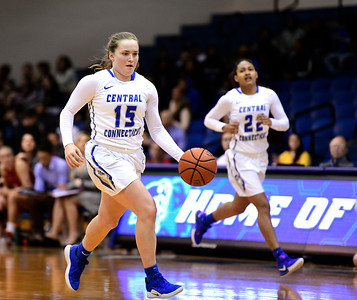 1/19/2019 Mike Orazzi | Staff CCSU's Emma McCamus (15) during Saturday's basketball game with Saint Francis University in New Britain.