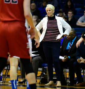1/19/2019 Mike Orazzi | Staff CCSU Women's Basketball Coach Beryl Piper during Saturday's basketball game with Saint Francis University in New Britain.