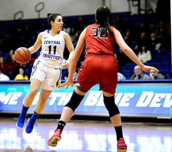 1/19/2019 Mike Orazzi | Staff CCSU's Bruna Vila Artigues (11) during Saturday's basketball game with Saint Francis University in New Britain.