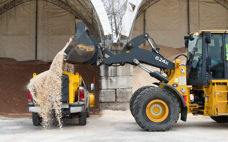 01/17/19  Wesley Bunnell | Staff  A loader loads salt onto a waiting truck at the New Britain Public Works on Friday afternoon.