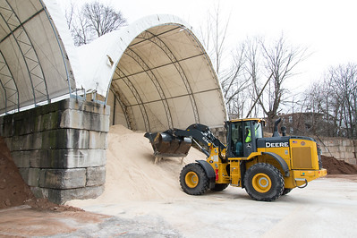 01/17/19  Wesley Bunnell | Staff  Equipment Operator Sebby Adorno drives a loader in front of the salt pile at New Britain Public Works on Friday afternoon.
