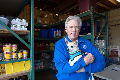 01/18/19  Wesley Bunnell | Staff  The CT Humane Society in Newington is holding a pet food dive for federal workers during this federal government shut down. Executive Director Gordon Willard holds Maxi, a 9 year old Chihuahua up for adoption, as he stands inside of the pet food pantry.