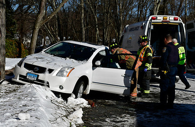 1/22/2019 MIke Orazzi | Staff An elderly man was sent to the hospital Tuesday afternoon when he crashed into a tree outside a senior apartment complex. The man was carted to an ambulance after the Nissan Sentra he was driving left a horseshoe parking lot in the Georgian Manor apartment complex, located at 490 Stafford Ave., at about 1:15 p.m. The man was taken to an area hospital for injuries that were not considered life-threatening. The driver's face was somewhat bloodied after his nose apparently struck something  during the collision. The airbag in his vehicle was not deployed. Police, firefighters and multiple ambulances responded to the crash.