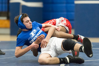 01/23/19  Wesley Bunnell | Staff  Plainville wrestling defeated Berlin at home on Wednesday night. Plainvllle's Dylan Bucci vs Berlin's Shan Naeem in the 113lb match.