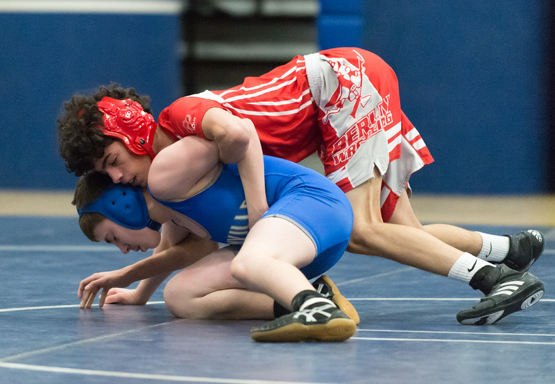 01/23/19  Wesley Bunnell   Staff  Plainville wrestling defeated Berlin at home on Wednesday night. Berlin's Noah Cintron vs Plainville's Johnny Guzzardii in the 106 lb match.