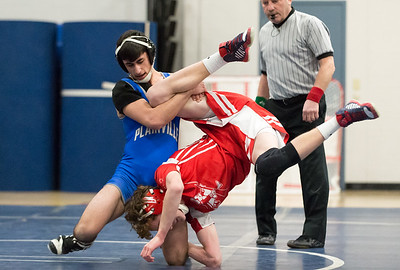 01/23/19  Wesley Bunnell | Staff  Plainville wrestling defeated Berlin at home on Wednesday night. Plainville's Dom Pedrolini vs Nat Orde in the 126lb match.