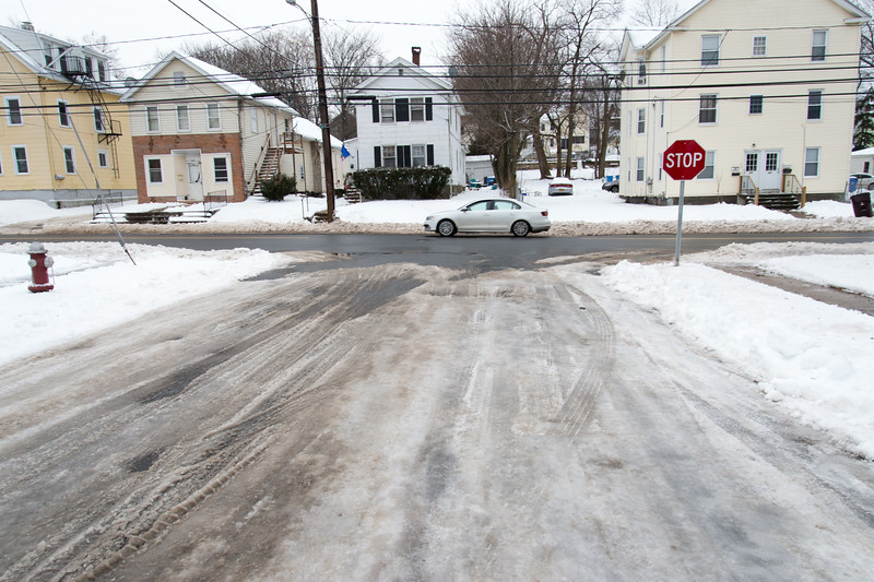 01/23/19  Wesley Bunnell | Staff  Several streets and sidewalks still remain covered in snow and ice on Wednesday after a weekend storm.  A look down Austin St. towards East St.