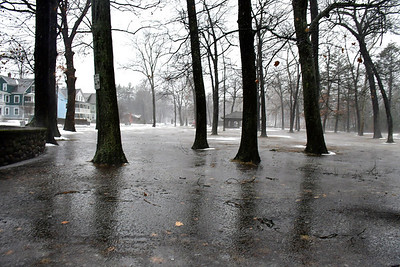 1/24/2019 Mike Orazzi | Staff Standing water in Bristol's Rockwell Park during Thursday's heavy rainfall.