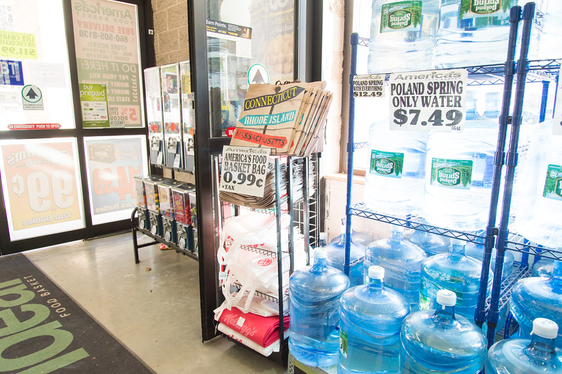 01/25/19  Wesley Bunnell | Staff  Reusable bags for sale near the entrance at America's Food Basket on Friday afternoon.