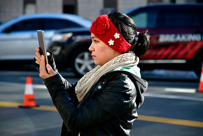 1/26/2019 Mike Orazzi | Staff Ashley Hamel during a protest Saturday morning in downtown New Britain to protest the decision by an independent state's attorney to not charge five police officers who fired on a carload of men, killing Zoe Dowdell and wounding two others last December.
