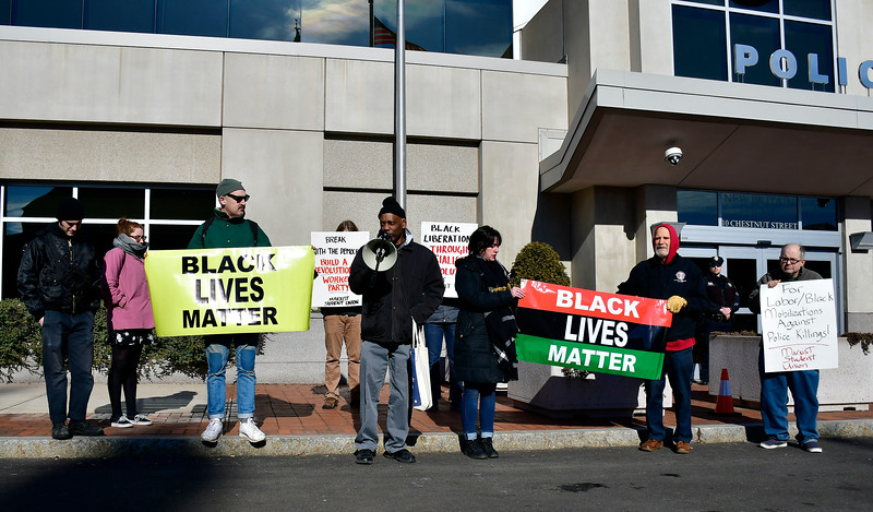 1/26/2019 Mike Orazzi   Staff Hartford community activist Cornell Lewis while leading a protest Saturday morning in downtown New Britain to protest the decision by an independent state's attorney to not charge five police officers who fired on a carload of men, killing Zoe Dowdell and wounding two others last December.