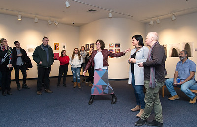 01/31/19  Wesley Bunnell | Staff  CCSU Professor of Art and chairperson of their art department Rachel Siporin, middle, introduces Dean Eniko Maior PhD, and Lecturer Sandor Bartha from Partium Christian University in Oradea Romania. CCSU held an opening reception for their collaborative exhibition with Partium Christian University on Thursday evening.  The exhibit titled Fix Flux featuring art work by Partium Christian students is on display until Feb 28th.