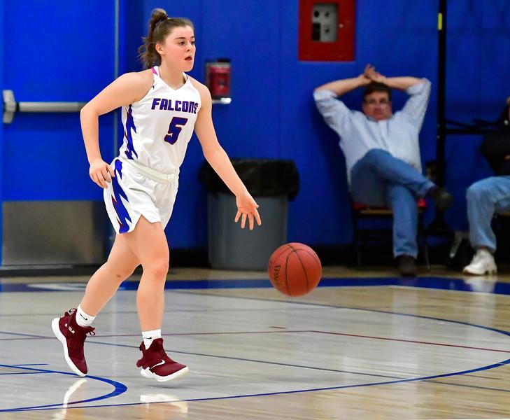 1/2/2019 Mike Orazzi | Staff St. Paul Catholic High School's Emma Cretella (5) during Wednesday night's girls basketball game in Bristol.