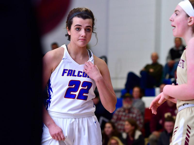 1/2/2019 Mike Orazzi | Staff St. Paul Catholic High School's Morgan Kolb (22) during Wednesday night's girls basketball game in Bristol.
