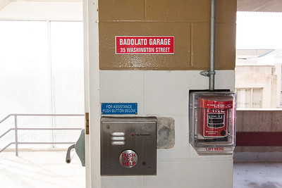 01/03/19  Wesley Bunnell | Staff  A pull down fire alarm shown on the right sits inside of the Badolato Garage at 35 Washington St.