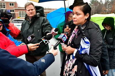 1/5/2019 Mike Orazzi | Staff Gwen Cordero during a press conference on Chapman Street in New Britain more than a year after  five New Britain police officers shot and killed 20-year-old Zoe Dowdell last year, police were justified in this use of deadly force, according to a report released by the Fairfield State's Attorney recently. Dowdell was fatally wounded while 15-year-old Caleb Tisdol and 18-year-old Noah Young were wounded. Young and Tisdol were later charged with committing robberies in New Britain. There were two guns in the vehicle when police fired, police said.