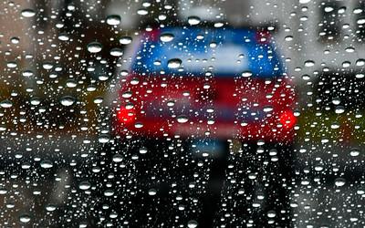 1/5/2019 Mike Orazzi | Staff My rain covered windshield on Chapman Street in New Britain.
