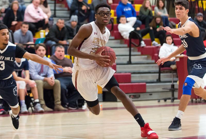 01/08/19  Wesley Bunnell   Staff  New Britain boys basketball defeated Rocky Hill in a home game on Tuesday night. Shamah Charles (33)
