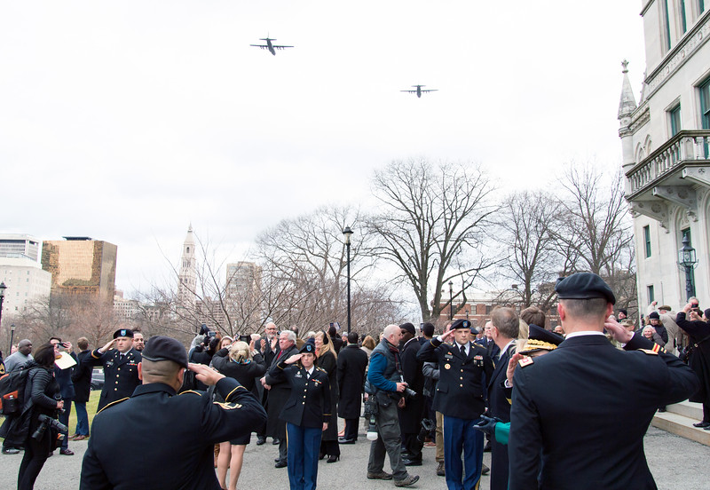 01/09/19  Wesley Bunnell | Staff  C-130 military aircraft during a flyover of the state capitol building after the completion of Governor Ned Lamont's inauguration parade.