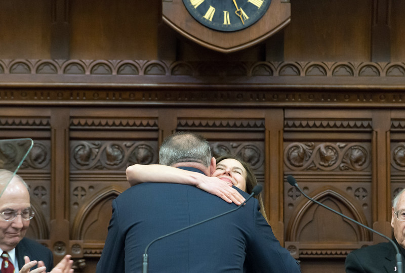 01/09/19  Wesley Bunnell | Staff  Lt. Governor Susan Bysiewicz hugs State Rep. and House Majority Leader Joe Aresimowicz just prior to her speech.