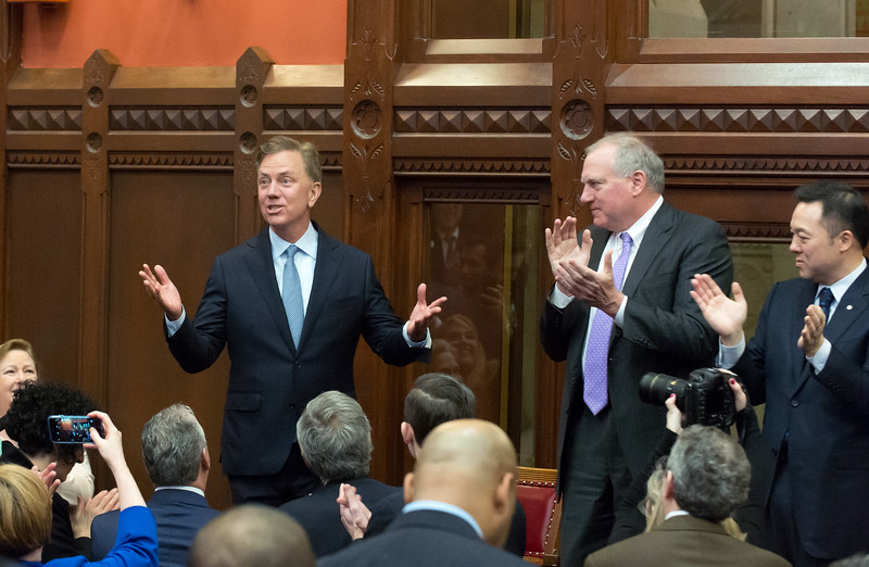 01/09/19  Wesley Bunnell | Staff  Governor Ned Lamont walks into a standing ovation prior to his State of the State speech to a joint session of the CT General Assembly.