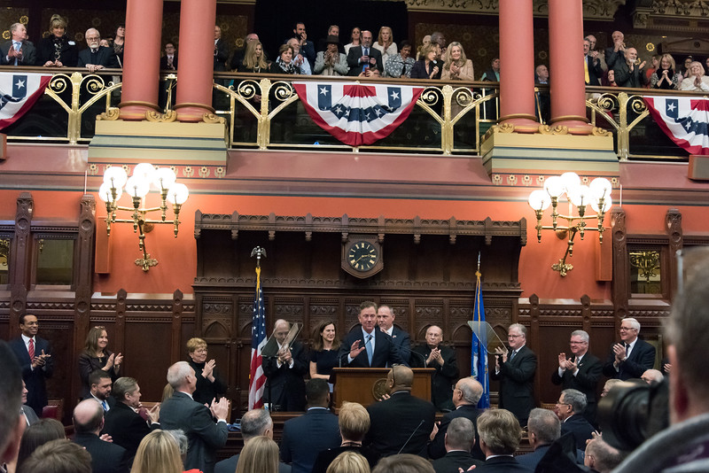 01/09/19  Wesley Bunnell   Staff  Governor Ned Lamont is given a standing ovation just prior to delivering the State of the State address to a joint session of the CT General Assembly.